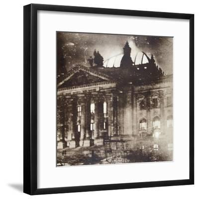 The Reichstag on fire, Berlin, Germany, 27 February 1933-Unknown-Framed Photographic Print