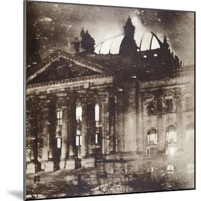 The Reichstag on fire, Berlin, Germany, 27 February 1933-Unknown-Mounted Photographic Print