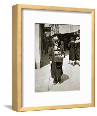 Blind man begging, Great Depression, New York, USA, 1933-Unknown-Framed Photographic Print
