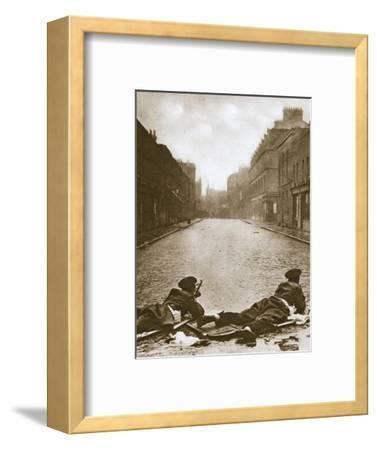 Scots Guards keeping guard on Sydney Street, London, 1911-Unknown-Framed Photographic Print