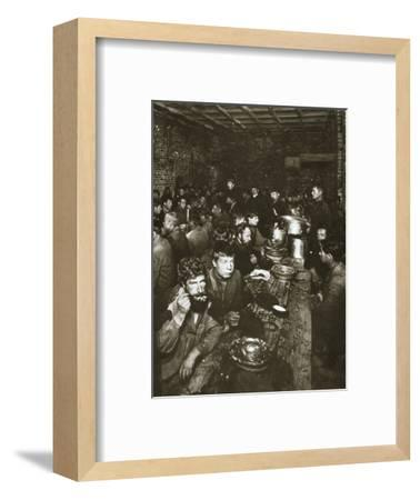 Russian manual labourers eating a meal, late 19th century-Unknown-Framed Photographic Print