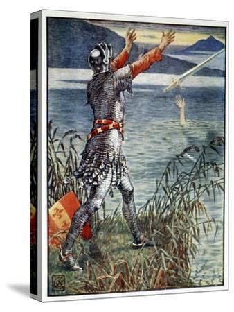 'Sir Bedivere casts the sword Excalibur into the Lake', 1911-Unknown-Stretched Canvas Print