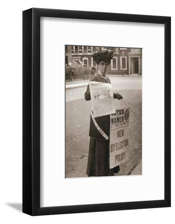 Miss Kelly, a suffragette, selling Votes for Women, July 1911-Unknown-Framed Photographic Print