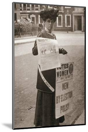 Miss Kelly, a suffragette, selling Votes for Women, July 1911-Unknown-Mounted Photographic Print