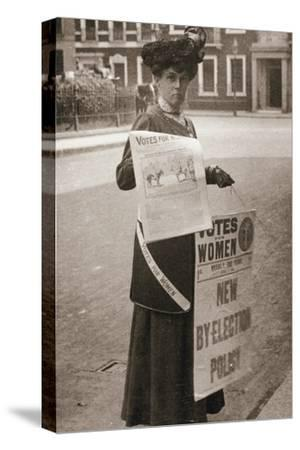 Miss Kelly, a suffragette, selling Votes for Women, July 1911-Unknown-Stretched Canvas Print