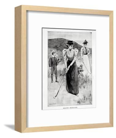 'Healthy Recreation'; two women golfers and their caddy, c1900-Unknown-Framed Giclee Print