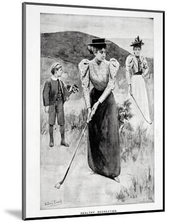 'Healthy Recreation'; two women golfers and their caddy, c1900-Unknown-Mounted Giclee Print