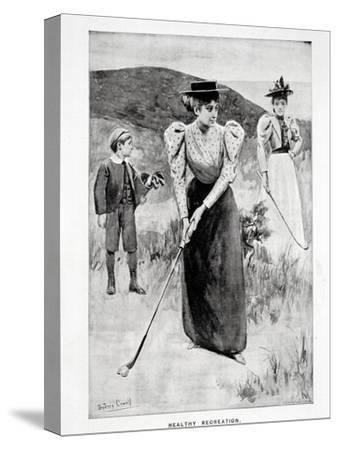 'Healthy Recreation'; two women golfers and their caddy, c1900-Unknown-Stretched Canvas Print