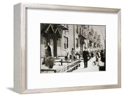 A street in the Borough of Queens, New York, USA, early 1930s-Unknown-Framed Photographic Print