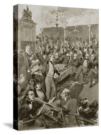 Scene in the House of Commons, London, 22 January 1846 (1901)-Unknown-Stretched Canvas Print