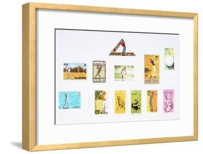 Stamps from various countries, with golfing theme, 20th century-Unknown-Framed Giclee Print