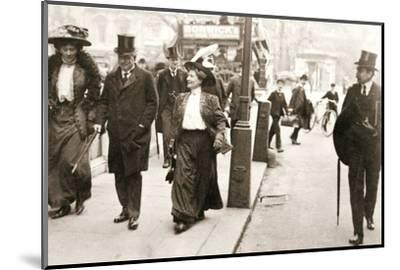 Suffragettes trying to speak to the Prime Minister, London, 1908-Unknown-Mounted Photographic Print