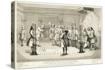 Assembly of Freemasons before the initiation of a master, c1733-Unknown-Stretched Canvas Print