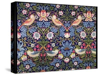 'The Strawberry Thief', textile designed by William Morris, 1883-William Morris-Stretched Canvas Print