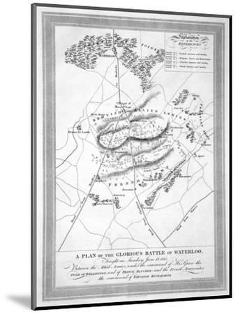 'A Plan of the Glorious Battle of Waterloo', 1815 (19th century)-Unknown-Mounted Giclee Print