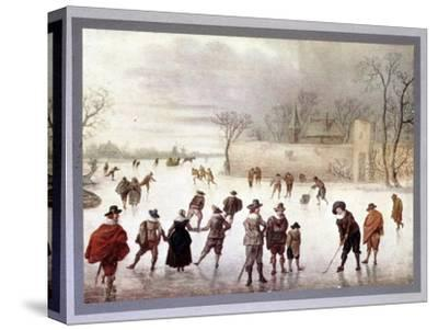 Illustration of people playing golf on frozen water, c18th century-Unknown-Stretched Canvas Print