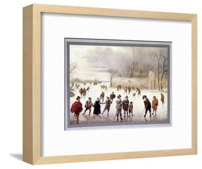 Illustration of people playing golf on frozen water, c18th century-Unknown-Framed Giclee Print