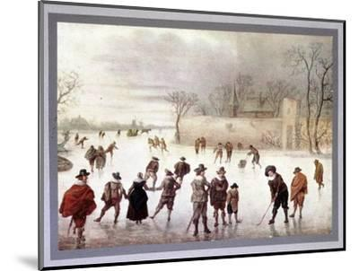 Illustration of people playing golf on frozen water, c18th century-Unknown-Mounted Giclee Print