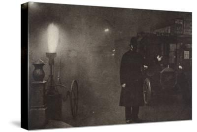 A constable directing traffic in the fog, London, c1910s-c1920s(?)-Unknown-Stretched Canvas Print