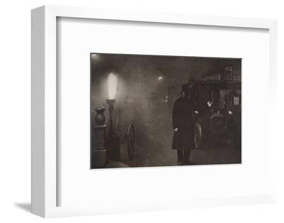 A constable directing traffic in the fog, London, c1910s-c1920s(?)-Unknown-Framed Photographic Print
