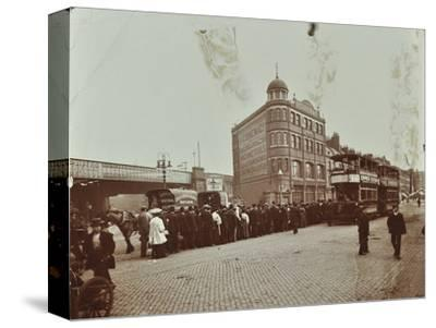 Queue of people at a bus stop in the Blackfriars Road, London, 1906-Unknown-Stretched Canvas Print