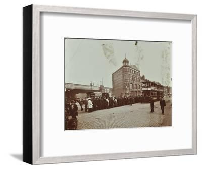 Queue of people at a bus stop in the Blackfriars Road, London, 1906-Unknown-Framed Photographic Print