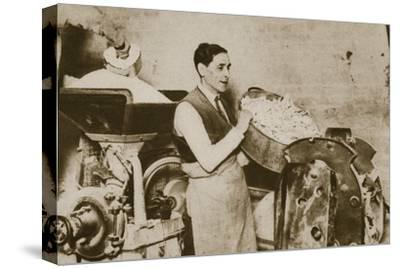 Jewish bakery preparing unleavened bread for Passover, 20th century-Unknown-Stretched Canvas Print