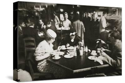 Office workers lunching in a restaurant, New York, USA, early 1930s-Unknown-Stretched Canvas Print