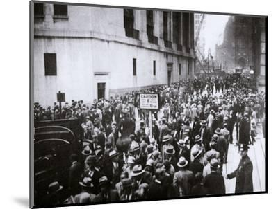 The Wall Street Crash, New York City, USA, Thursday, 24 October 1929-Unknown-Mounted Photographic Print