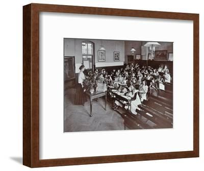 Nature lesson, Albion Street Girls School, Rotherhithe, London, 1908-Unknown-Framed Photographic Print