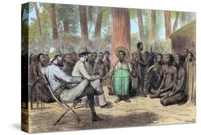 Liutenant Verney Lovett Cameron's reception by Katende, 19th century-Unknown-Stretched Canvas Print