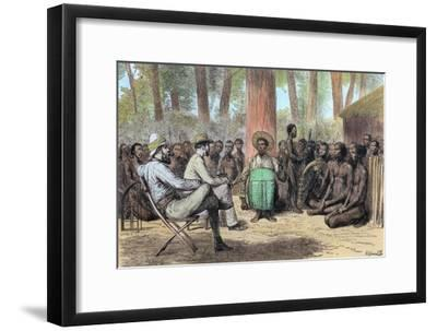 Liutenant Verney Lovett Cameron's reception by Katende, 19th century-Unknown-Framed Giclee Print