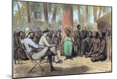 Liutenant Verney Lovett Cameron's reception by Katende, 19th century-Unknown-Mounted Giclee Print