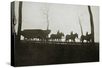 French troops on the road to the trenches, France, World War I, 1916-Unknown-Stretched Canvas Print