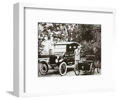 Henry Ford, American car manufacturer, with two of his cars, USA, 1924-Unknown-Framed Photographic Print