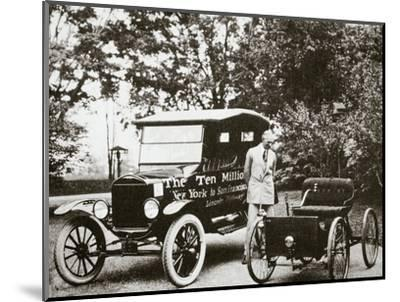 Henry Ford, American car manufacturer, with two of his cars, USA, 1924-Unknown-Mounted Photographic Print