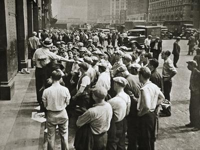 Longshoremen being picked out by a boss, New York, USA, 1920s or 1930s-Unknown-Framed Photographic Print