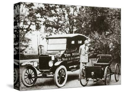Henry Ford, American car manufacturer, with two of his cars, USA, 1924-Unknown-Stretched Canvas Print