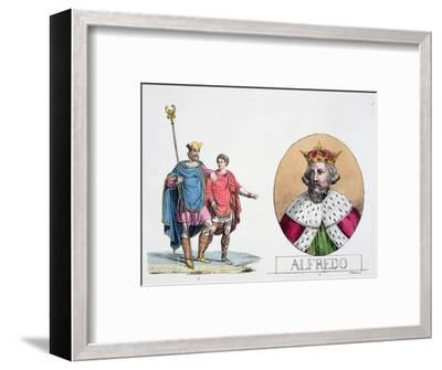 Edward the Confessor and Alfred the Great, English kings, 19th century-Unknown-Framed Giclee Print