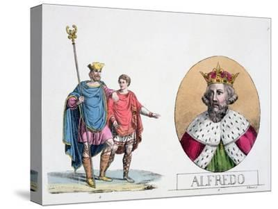 Edward the Confessor and Alfred the Great, English kings, 19th century-Unknown-Stretched Canvas Print