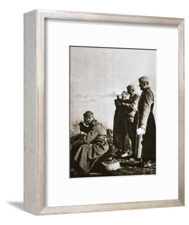 King Peter I of Serbia watching the retreat of his defeated army, 1914-Unknown-Framed Photographic Print