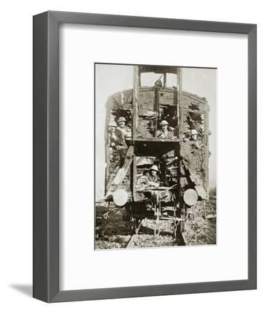 Captured German railway carriage, the Ancre, France, World War I, 1916-Unknown-Framed Photographic Print