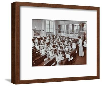Classroom scene, Albion Street Girls School, Rotherhithe, London, 1908-Unknown-Framed Photographic Print
