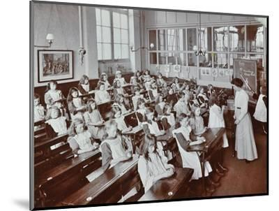 Classroom scene, Albion Street Girls School, Rotherhithe, London, 1908-Unknown-Mounted Photographic Print