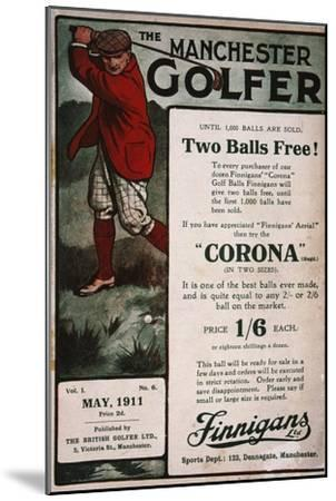 Advertisement on the cover of The Manchester Golfer, British, May 1911-Unknown-Mounted Giclee Print