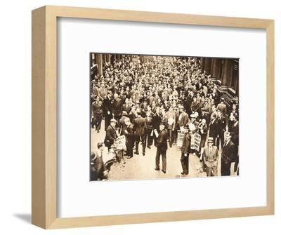 Crowd outside London Stock Exchange after fall of the Hatry Group, 1929-Unknown-Framed Photographic Print