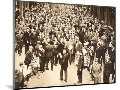 Crowd outside London Stock Exchange after fall of the Hatry Group, 1929-Unknown-Mounted Photographic Print