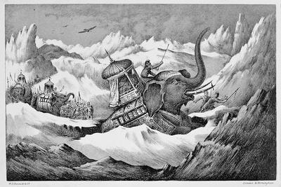Hannibal and his war elephants crossing the Alps, 218 BC (19th century)-Unknown-Framed Giclee Print