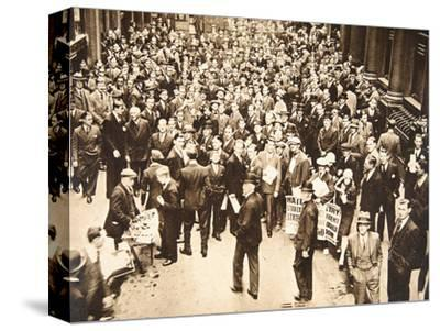 Crowd outside London Stock Exchange after fall of the Hatry Group, 1929-Unknown-Stretched Canvas Print