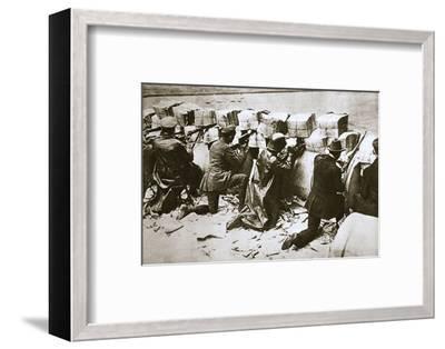 Barricades on a street, German Revolution, Berlin, Germany, c1918-c1919-Unknown-Framed Photographic Print